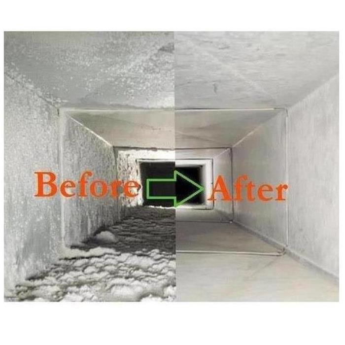 Before & After picture of cleaning air ducts